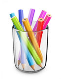 Colorful pens in glass. 3D Icon isolated. On white bacground Royalty Free Stock Image