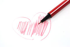 Colorful pens a heart shape. Stock Photography