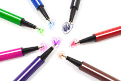 Colorful pens a heart shape. Stock Images