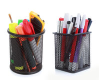 Colorful pens in holder Royalty Free Stock Photography