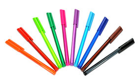 Colorful pens isolated. Colorful pens in row for wallpaper Stock Photo