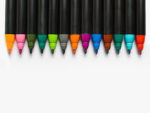 Colorful pens line royalty free stock photography