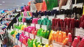 Colorful pens and pencils. At shopping center royalty free stock image