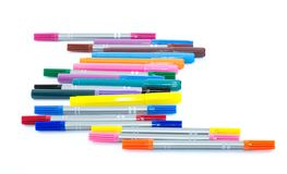 Colorful pens on a white background - yellow, pink, orange, green, blue, brown Stock Image