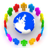Colorful People around Earth Globe Stock Photos