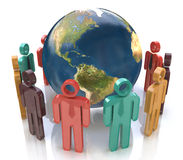 Colorful people around the globe. Concept of global communication Royalty Free Stock Images
