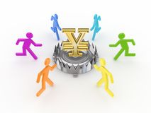 Colorful people around iron trap with yen symbol. Stock Image