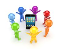 Colorful people around mobile phone. Royalty Free Stock Image