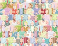 Colorful People Background Seamless Pattern Stock Image