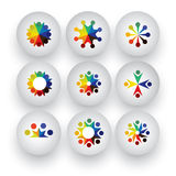 Colorful people, children, employees icons collection set - vect Royalty Free Stock Photos