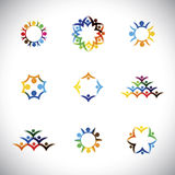 Colorful people, children, employees icons collection set - vect. Or graphic. This illustration also represents love, unity, solidarity, alliance, union Royalty Free Stock Images