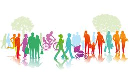 Colorful people in the city. Colorful illustration of families, couples and singles plus a cyclist and a runner all seen in silhouette  moving along a city Stock Photography