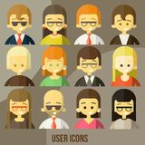 Colorful people Faces Circle Icons Set. In Trendy Flat Style Royalty Free Stock Photography