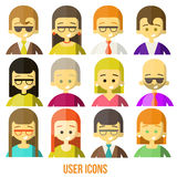 Colorful people Faces Circle Icons Set. In Trendy Flat Style Stock Photos
