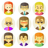 Colorful people Faces Circle Icons Set. In Trendy Flat Style Royalty Free Stock Images