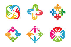 Colorful People Group Team Logo Design. Illustration Royalty Free Stock Image