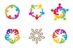 Colorful People Group Team Logo Design. Illustration Stock Photos