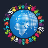 Diversity human hand Europe and Africa map. Colorful people hand around Europe and Africa world map. Vector file layered for easy manipulation and custom Royalty Free Stock Images
