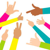 Colorful People Hands. Stock Photos