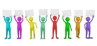Colorful people holding paper cards. Enter the word you wish to demonstrate Royalty Free Stock Photos