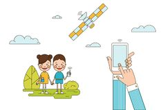 Colorful People Monitoring Concept. With mobile in hands children holding phones and satellite  vector illustration Stock Photography