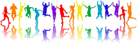 Colorful people silhouettes jumping Royalty Free Stock Images