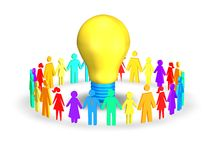 Colorful people together holding hand with bulb Royalty Free Stock Photos