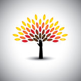 Colorful people tree and hand - eco lifestyle concept vector Royalty Free Stock Images
