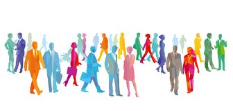 Colorful people walking and talking royalty free illustration