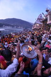 Colorful People Worship/Offer Puja, Rishikesh, India, Fisheye Royalty Free Stock Photography