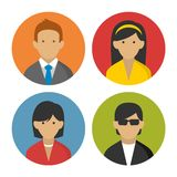 Colorful Peoples Userpics Icons Set in Flat Style. Vector Illustration Royalty Free Stock Image