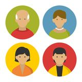 Colorful Peoples Userpics Icons Set in Flat Style. Royalty Free Stock Photography