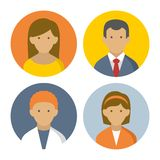 Colorful Peoples Userpics Icons Set in Flat Style. Royalty Free Stock Photos