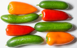 Colorful pepper and green cucumber on white background, horizont Royalty Free Stock Images