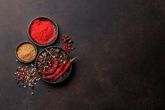 Colorful pepper. Various spices and herbs Royalty Free Stock Photography