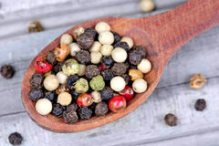 Colorful peppercorns in a wooden spoon on table Royalty Free Stock Images