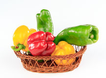 Colorful peppers in a basket Royalty Free Stock Photography