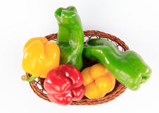 Colorful peppers in a basket Royalty Free Stock Photos