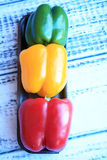 Colorful Peppers Green Red and Yellow Stock Photography