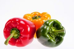 Colorful peppers isolated on white background Stock Photos