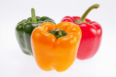 Colorful peppers isolated on white background Stock Photo