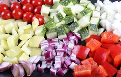 Diced vegetables. Stock Photos
