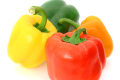 Colorful Peppers Over White Stock Photos