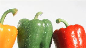 Colorful peppers in super slow motion being soaked Stock Images