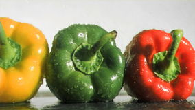 Colorful peppers in super slow motion receiving water Royalty Free Stock Images