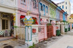 Colorful `Peranakan` House at Singapore. Joo Chiat, Singapore- February 2, 2017: Colorful `Peranakan` House. The word `Peranakan` used by the local people of Royalty Free Stock Photos