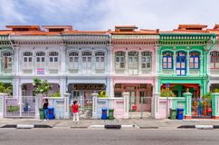Colorful `Peranakan` House at Singapore. Joo Chiat, Singapore- February 2, 2017: Colorful `Peranakan` House. The word `Peranakan` used by the local people of Stock Photos