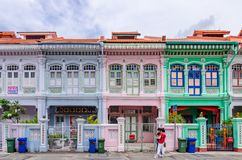 Colorful `Peranakan` House at Singapore. Joo Chiat, Singapore- February 2, 2017: Colorful `Peranakan` House. The word `Peranakan` used by the local people of Stock Photography