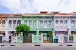 Colorful `Peranakan` House at Singapore. Joo Chiat, Singapore- February 2, 2017: Colorful `Peranakan` House. The word `Peranakan` used by the local people of Stock Image