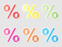 Colorful percent buttons Royalty Free Stock Photography
